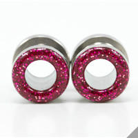 Magenta Pink Glitter Tunnel Plugs/ 6g, 4g, 2g, 0g, 00g, 7/16, 1/2, 9/16, 5/8, 11/16, 3/4, 7/8, 1 inch / Cute Gauges / Sparkle Tunnels