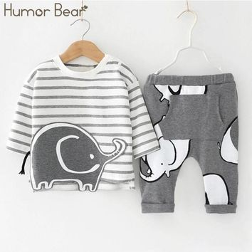 Boys Long Sleeve Elephant Shirt and Pants 2 Piece Set -2 Styles