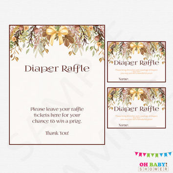 Fall Baby Shower, Diaper Raffle Ticket, Diaper Raffle Sign and Raffle Cards, Autum Baby Shower, Boho, Rustic, Floral Printable Download FF01