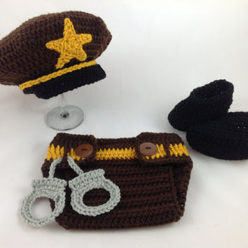 Baby Sheriff Hat and Diaper Cover Set - Crochet - Photography Prop - Baby Shower Gift - Baby Cop - Policeman Hat