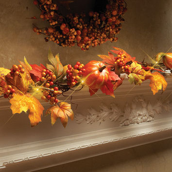 LED Lighted Fall Floral Garland