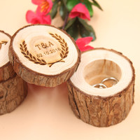Custom Ring Box Personalized Wedding / Valentines Engagement Wooden Ring Bearer Storage Box