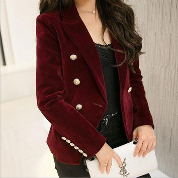VONE2B5 M-2XL plus size 2016 autumn female Korean Slim was thin velvet leisure suit solid color double-breasted jacket w1085