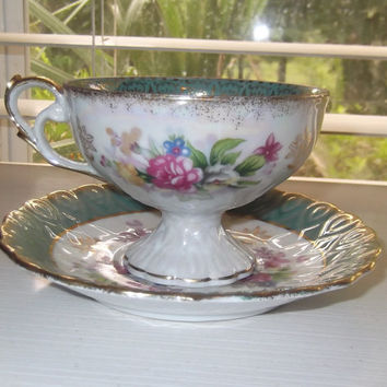 Vintage Lefton China 110 Hand Painted Gold Trimmed Footed Tea Cup and Saucer Set
