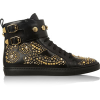 Versace - Studded leather high-top sneakers