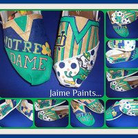 Fighting Irish Notre Dame hand painted toms by IPaint4Kids on Etsy