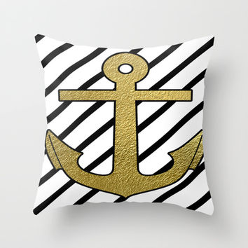 Gold anchor on black and white stripes Throw Pillow by Prints Of Heart