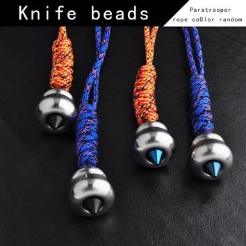 Metal Alloy EDC Outdoor Portable Toys Tip Knife Beads DIY Paracord Knife Leather Lanyard Bead / Beads And Crafts Gourd Pendant