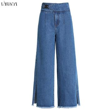 LXUNYI High Waist jeans Women Wide leg Spring Summer 2018 Loose Jeans Woman Plus Size Ankle Length Split Harajuku Straight Pants