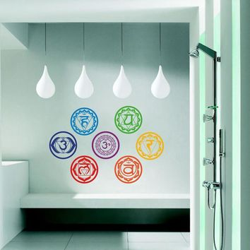 7 Chakras Vinyl Stickers Meditation Yoga Symbol Art Wall Decals