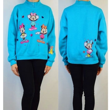 Disney Minnie Mouse 90s Kawaii Grunge Hipster Applique Heart Jewels Sweatshirt Jumper Sweater Vintage Fabric Handmade Womens Clothing Ballet