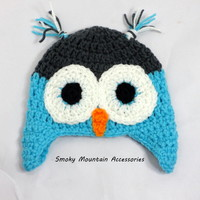Crochet Owl Hat Handmade for 3-6 Month Old