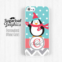 iPhone Case - Hello Penguin Personalized Monogram iPhone 5 Case iPhone 5s iPhone 5c Case iPhone 4 iPhone 4s Case Polka dot and Chevron Am11
