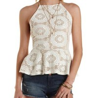 Strappy Lace Peplum Top by Charlotte Russe