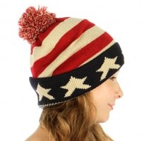 HauteChicWebstore Double Layered American Flag PomPom Beanie Hat in Red - www.shophcw.com