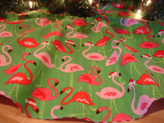 Flamingo Christmas Tree Skirt Mini From KaysGeneralStore