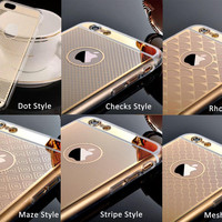 Deluxe Laser engraving For Iphone 6 Plus Soft  Slim For Iphone 6S 5.5inch Clear Case Silicone Edge + Acrylic Hybrid Cover
