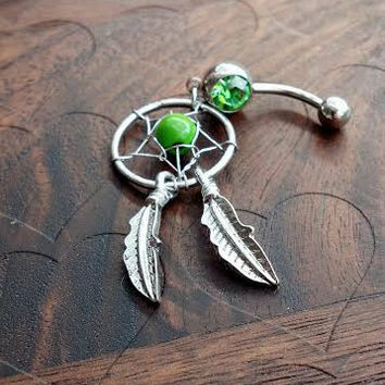 Dream Catcher Belly Button Ring -- Green Rhinestone