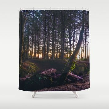 Wooded Tofino Shower Curtain by Mixed Imagery