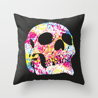 Skull Art Throw Pillow by C Designz