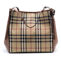 Burberry Womens Small Canter Horseferry Check Leather Hobo Tote Bag