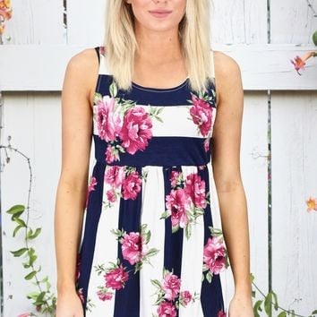 Striped by Florals Babydoll Tank {Navy}