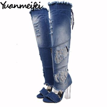 Yuanmeifei Women Over The Knee Thigh High Denim Boots Open Toe Transparent Block Thick High Heel Pumps Gladiator Sandals Shoes
