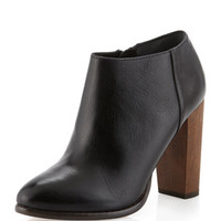 Sandra Leather Ankle Boot, Black