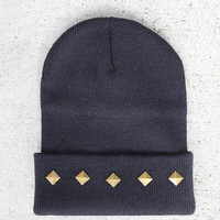 Black Bronze Pyramid Studded Beanie