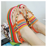 2013 Explosion Models Summer New Bohemian Wedge Sandals Thick Crust Rainbow Muffin Beach Sandals = 4776760708