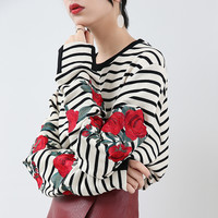 Free Shipping Classic wild stripes long-sleeved T-shirt Rose Sweater