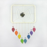 Rectangular dreamcacther with recycled materials : White spiderweb and rainbow leaves - by Savousepate