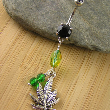 Green Pot Leaf Belly Ring ~ Black CZ Belly Button Navel Ring Green Czech Beads Body Piercing Jewelry Marijuana Mary Jane
