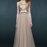 Golden Beaded Mock Two-Piece Dress
