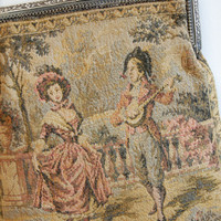 Antique French Aubusson Tapestry Purse Victorian Bags & Purses Romantic Scenes of Courtly Love French Collectibles Accessories
