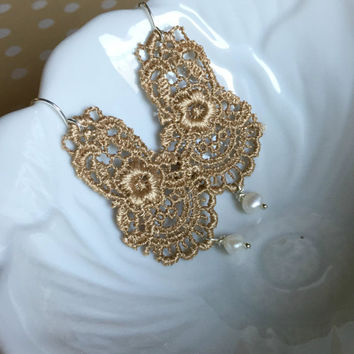 Lace Chandelier Earrings - Gold Lace Earrings - Lace and Pearl Earrings - Beaded Lace Earrings - Lace Wedding Jewelry