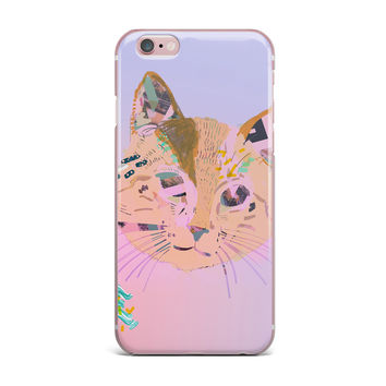 """Vasare Nar """"Psychedelic Cat"""" Pastel Lavender iPhone Case"""