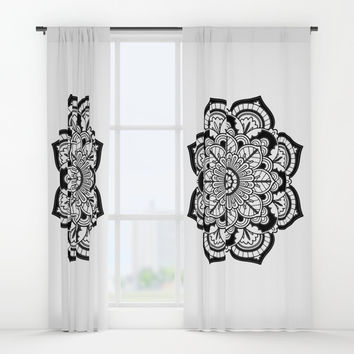 Black and White Flower Window Curtains by Azima