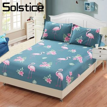Cool Solstice Home Textile Flamingo Blue Bedding Fitted Sheet 100%Cotton King Queen Single Size Girl Kid Bed Mattress Cover ProtectorAT_93_12