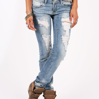 Scraped Down Straight Denim | Straight Leg Jeans at Pink Ice