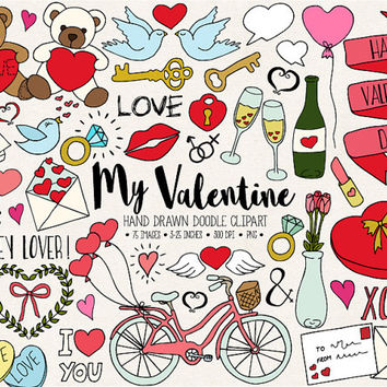 Valentine's Day Clipart. Hand Drawn Love, Romance, Valentine's Clip Art. Doodle Heart, Arrow, Bicycle, Dove, Cupcake, Wedding Illustrations