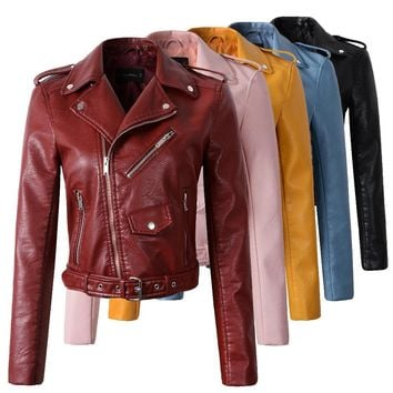 Womens New Fashion Wine Red Faux Leather Jacket