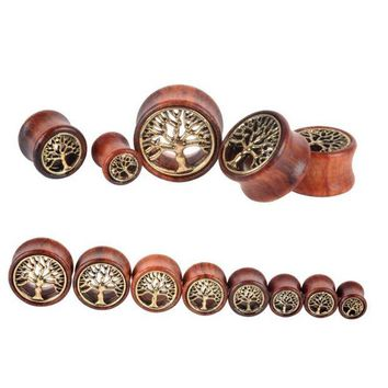 ac DCCKO2Q 1 Pc! The Tree Of Life Saddle Fit Ear Plug Wood Flesh Tunnel Organic Body Ear Expander Fashion Piercing Earring Fashion Jewelry