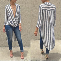 White and Black Striped Longsleeve Tall Blouse