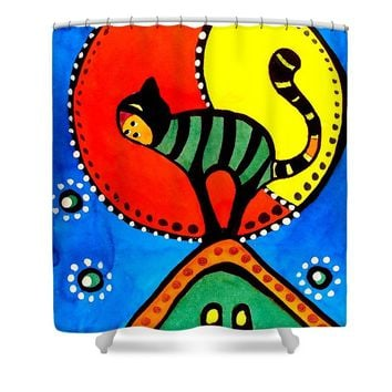 The Cat And The Moon - Cat Art By Dora Hathazi Mendes Shower Curtain