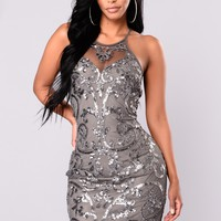 Show Up Late Sequin Dress - Grey