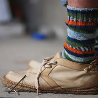 Mens blue and orange striped socks gift idea for him - made to order