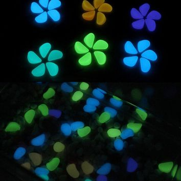 100Pcs Luminous Stones Glow In The Dark Pebbles Garden Fish Tank Flower Pot Decoration Crafts Romantic Wedding Party Supplies