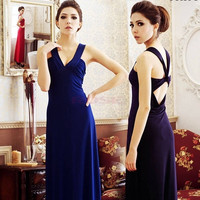 Women V-Neck Backless Dresses Evening Cocktail Party Sexy Long Maxi Dress DZ88 10147 One Size Vestidos = 1745482500