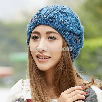 ESBU3C 2016 Women Charm winter cap female flower blue bow soft fabric elastic acrylic outdoor thermal knitted brown hats